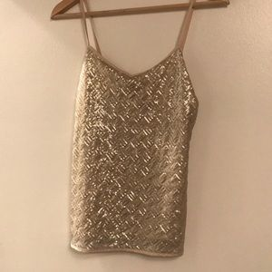 Banana Republic Gold sequined cami size small